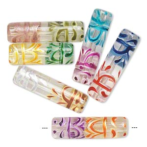 bead, glass, transparent clear and multicolored, 25x8mm-30x9mm hand-painted round tube. sold per pkg of 6.