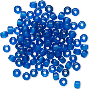 bead, glass, transparent dark blue, 9x7mm crow with 3.5-4mm hole. sold per pkg of 100.