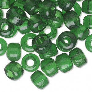 bead, glass, transparent dark green, approximately 9x7mm crow. sold per pkg of 100.