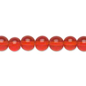 bead, glass, transparent red, 8mm round. sold per pkg of (2) 16-inch strands.
