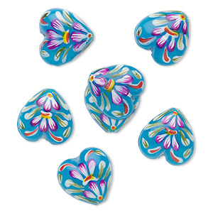 bead, glass, turquoise blue, 18x11mm heart, hand painted. sold per pkg of 6.
