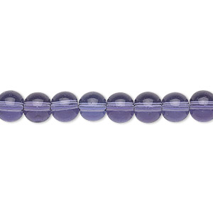 bead, glass, violet, 6mm round. sold per 36-inch strand.