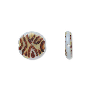 bead, glass, white and brown, 27mm flat round with painted cheetah print pattern. sold per pkg of 4.