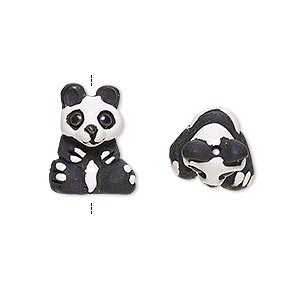 bead, glazed ceramic, black and white, 16x13mm hand-painted panda bear. sold per pkg of 2.