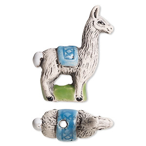 bead, glazed ceramic, multicolored, 24x18mm hand-painted llama. sold per pkg of 2.