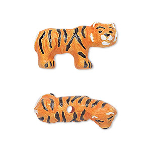 bead, glazed ceramic, orange/black/white, 26x14mm hand-painted tiger. sold per pkg of 2.