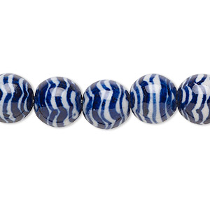 bead, glazed porcelain, blue and white, 10mm round with wave design. sold per 16-inch strand.