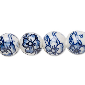 bead, glazed porcelain, blue and white, 12mm round with floral design. sold per 16-inch strand.