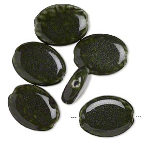 bead, glazed porcelain, dark green, 29x22mm flat oval with 3mm hole. sold per pkg of 6.