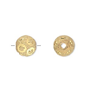 bead, gold-finished brass, 10mm stardust round with diamond-cut circles, 2-3.5mm hole. sold per pkg of 10.