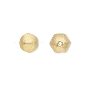 bead, gold-finished brass, 11x9mm brushed puffed hexagon. sold per pkg of 4.