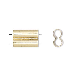 bead, gold-finished brass, 15x10mm double tube, 4mm hole. sold per pkg of 10.