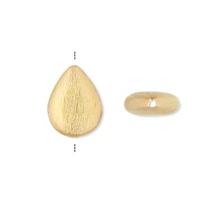 bead, gold-finished brass, 16x12mm brushed flat teardrop. sold per pkg of 2.