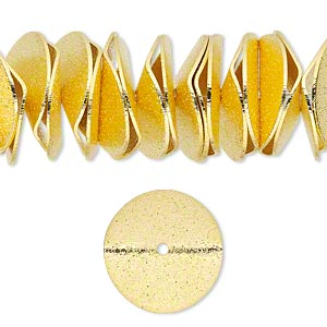 bead, gold-finished brass, 17x3mm textured wavy rondelle. sold per pkg of 20.