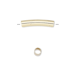 bead, gold-finished brass, 20x4mm curved round tube, 3mm hole. sold per pkg of 10.