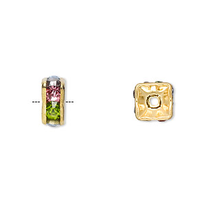 bead, gold-finished brass and glass rhinestone, multicolored light, 8x4mm squaredelle. sold per pkg of 10.