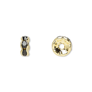 bead, gold-finished brass and rhinestone, black, 8x4mm rondelle. sold per pkg of 10.