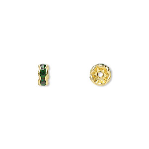 bead, gold-finished brass and rhinestone, emerald green, 5x2mm rondelle. sold per pkg of 10.