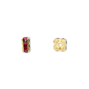 bead, gold-finished brass and rhinestone, garnet red, 6x3mm squaredelle. sold per pkg of 10.