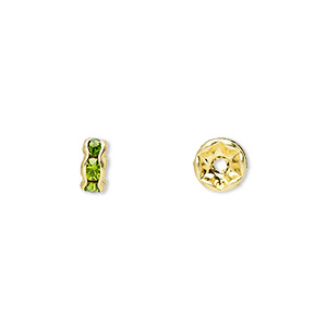 bead, gold-finished brass and rhinestone, peridot green, 6x3mm rondelle. sold per pkg of 10.