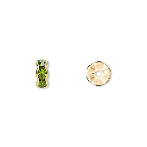 bead, gold-finished brass and rhinestone, peridot green, 7x3.5mm rondelle. sold per pkg of 10.