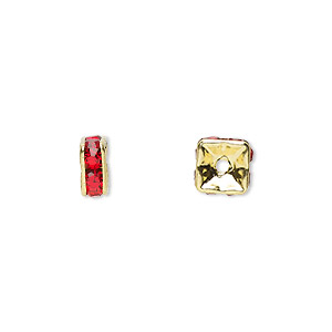 bead, gold-finished brass and rhinestone, red, 6x3mm squaredelle. sold per pkg of 10.