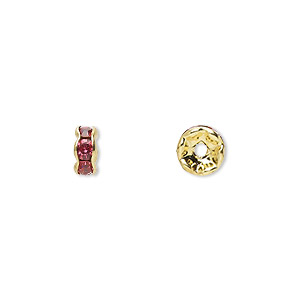 bead, gold-finished brass and rhinestone, rose, 6x3mm rondelle. sold per pkg of 10.