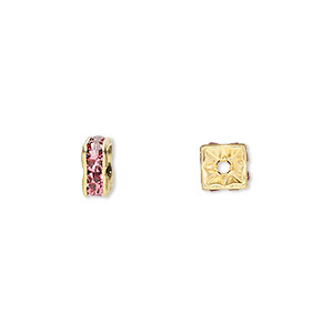 bead, gold-finished brass and rhinestone, rose, 6x3mm squaredelle. sold per pkg of 10.