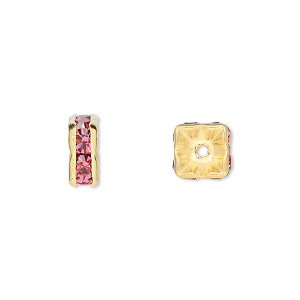 bead, gold-finished brass and rhinestone, rose, 8x4mm squaredelle. sold per pkg of 10.