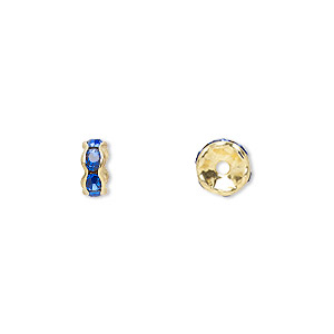 bead, gold-finished brass and rhinestone, sapphire blue, 6x3mm rondelle. sold per pkg of 10.