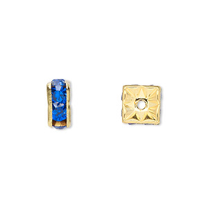 bead, gold-finished brass and rhinestone, sapphire blue, 8x4mm squaredelle. sold per pkg of 10.