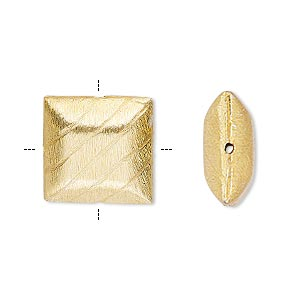 bead, gold-finished copper, 16x16mm cross-drilled brushed puffed square with lines. sold per pkg of 2.