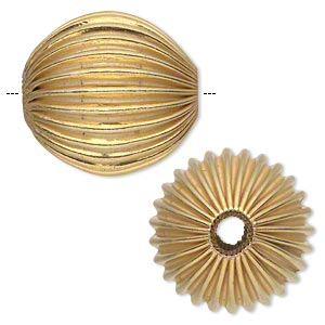 bead, gold-finished copper, 40mm corrugated round with 5.5-7.5mm hole. sold individually.
