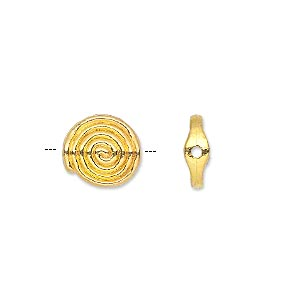 bead, gold-finished pewter (zinc-based alloy), 11x4mm double-sided flat round with spiral design. sold per pkg of 20.