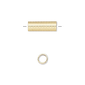 bead, gold-finished steel, 15x5mm round tube with diamond design, 4mm hole. sold per pkg of 10.