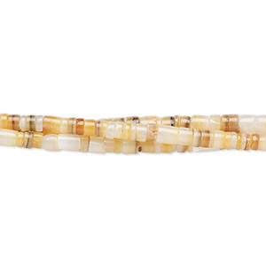 bead, gold lip shell (natural), 2-3mm hand-cut heishi, mohs hardness 3-1/2. sold per 16-inch strand.