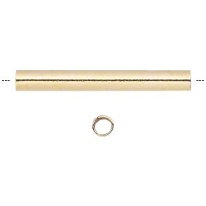 bead, gold-plated brass, 16x2mm round tube. sold per pkg of 100.