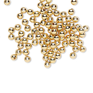 bead, gold-plated brass, 3mm smooth round. sold per pkg of 100.