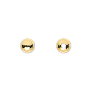 bead, gold-plated brass, 7mm round with 2mm hole. sold per pkg of 100.