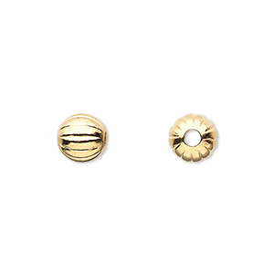 bead, gold-plated brass, 8mm corrugated round with 2mm hole. sold per pkg of 100.