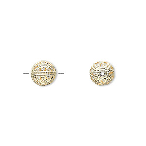 bead, gold-plated brass, 8mm filigree round. sold per pkg of 10.