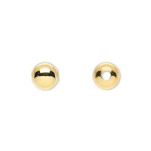 bead, gold-plated brass, 8mm round with 2mm hole. sold per pkg of 10.