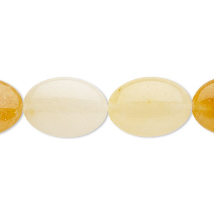 bead, golden jade (natural), 18x13mm puffed oval with 0.5-1.5mm hole, b grade, mohs hardness 7. sold per 8-inch strand, approximately 10 beads.