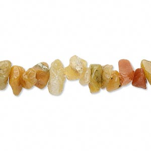 bead, golden jade (natural), medium chip, mohs hardness 7. sold per 16-inch strand. minimum 5 per order.