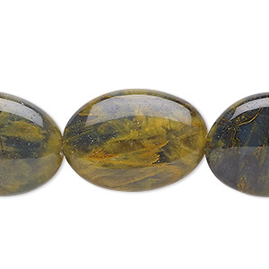 bead, golden pietersite (natural), 25x18mm flat oval, b grade, mohs hardness 6-1/2 to 7. sold per 8-inch strand, approximately 5 beads.