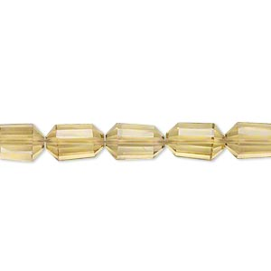 bead, golden quartz (heated), 9x6mm hand-cut faceted capsule, b+ grade, mohs hardness 7. sold per pkg of 5.