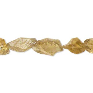 bead, golden quartz (heated), light to dark, small to medium hand-cut rough nugget, mohs hardness 7. sold per pkg of 5.