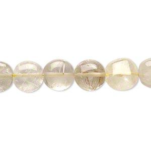 bead, golden rutilated quartz (natural), 8-9mm hand-cut puffed flat round, c- grade, mohs hardness 7. sold per 14-inch strand.