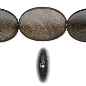 bead, golden sheen obsidian (natural), 25x18mm flat oval, a grade, mohs hardness 5 to 5-1/2. sold per 16-inch strand.
