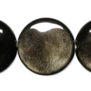 bead, golden sheen obsidian (natural), 30mm puffed flat round, a grade, mohs hardness 5 to 5-1/2. sold per 8-inch strand, approximately 5 beads.